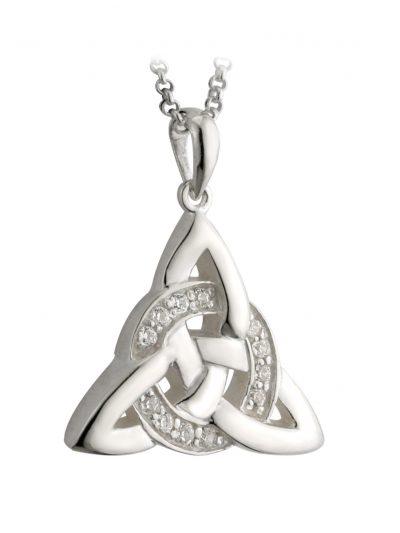 Sterling Silver Cz Celtic Knot Pendant - Fal Box