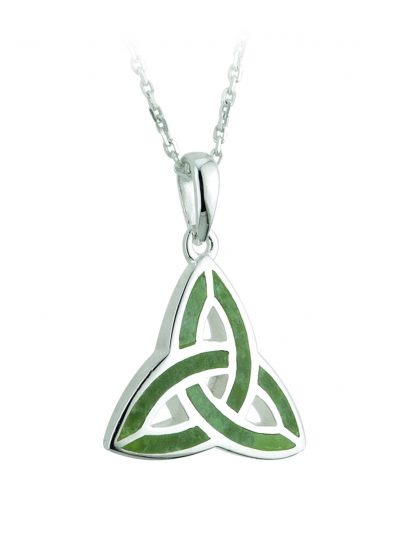 Silver Connemara Marble Trinity Knot Pendant