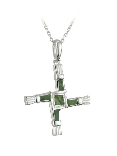 Silver Connemara Marble St. Brigid's Cross Pendant