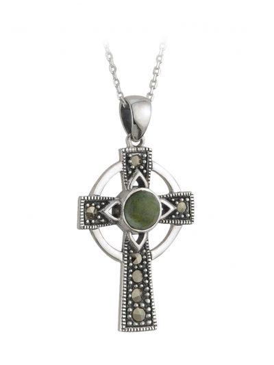 Silver Connemara Marble Marcasite Cross Pendant