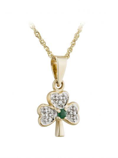 14k Gold Diamond & Emerald Shamrock Pendant