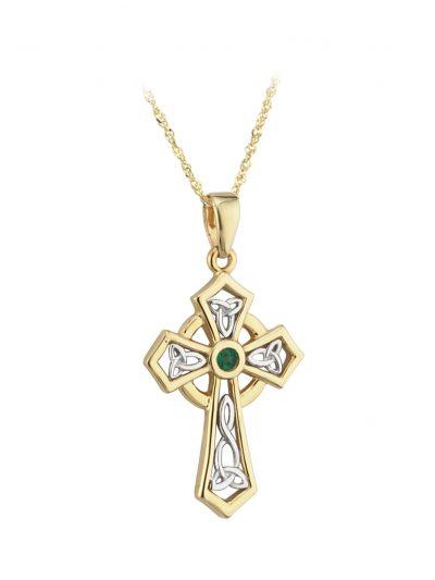 14k Emerald Cross Pendant