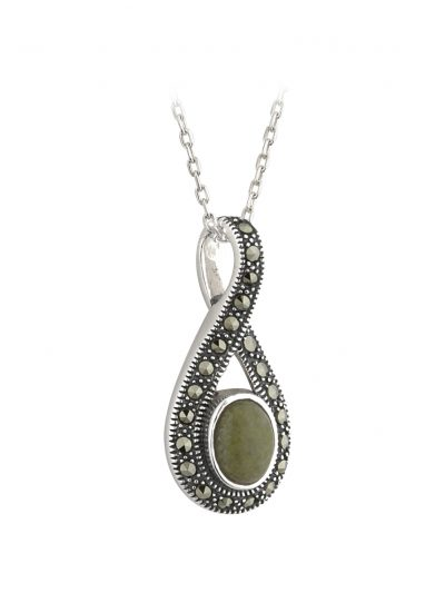 Sterling Silver Marble & Marcasite Pendant