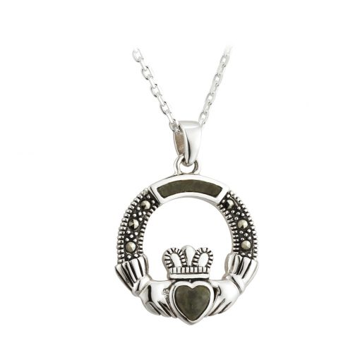 Sterling Silver Marble & Marcasite Claddagh Pendant