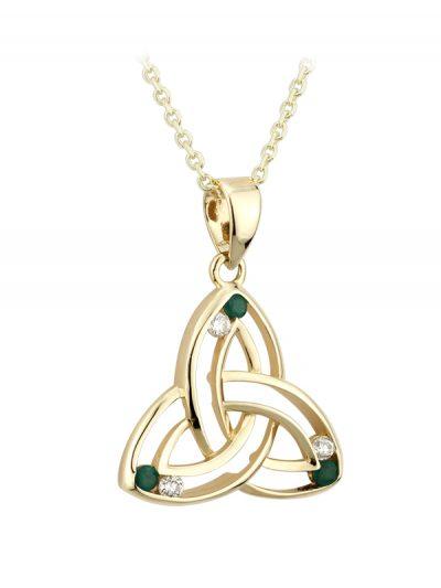 14k Small Diamond & Emerald Trinity Pendant
