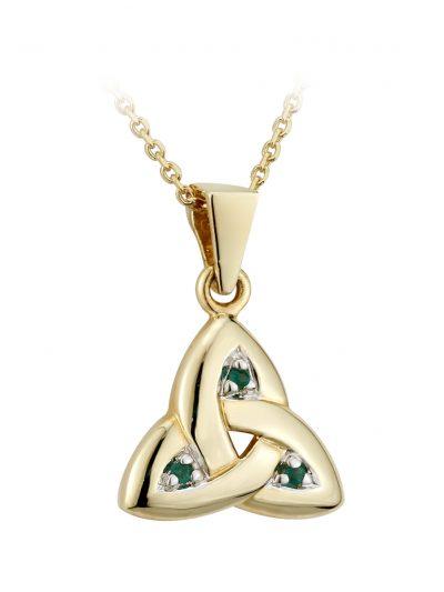 14k Gold Emerald Trinity Knot Pendant