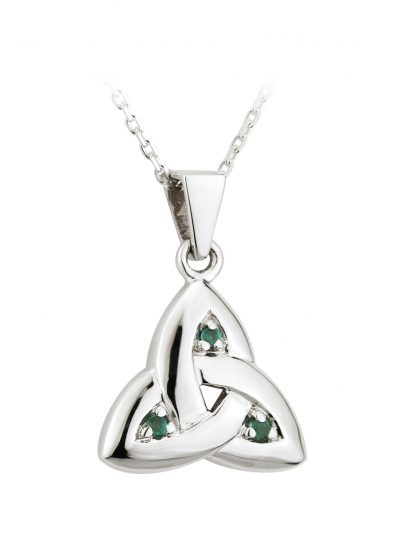 14k White Emerald Trinity Knot Medium