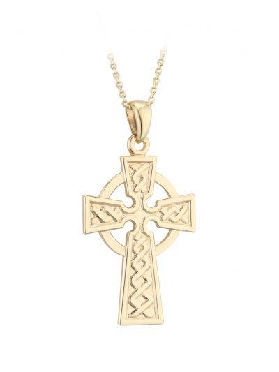 14k Gold 21mm Embossed Celtic Cross Pendant