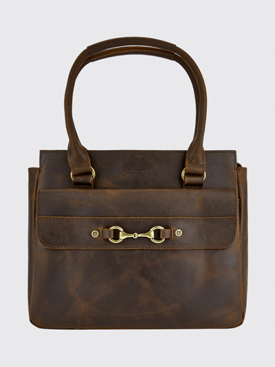 leather bag with handle mahogany